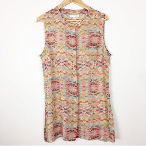 CAbi sheer colorful tank coverup or dress shirt L